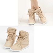 shoes,sneakers,wedge sneakers,beige,wedges,high tops,beige shoes,high top sneakers