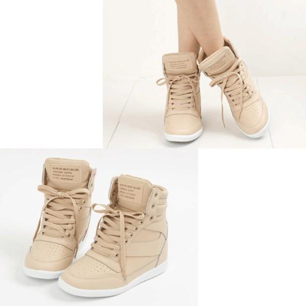shoes, sneakers, wedge sneakers, beige