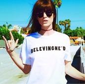 t-shirt,funny shirt,name,cara delevingne,instagram,awesomness,black and white,white,jewels,shirt,delevingne,tumblr