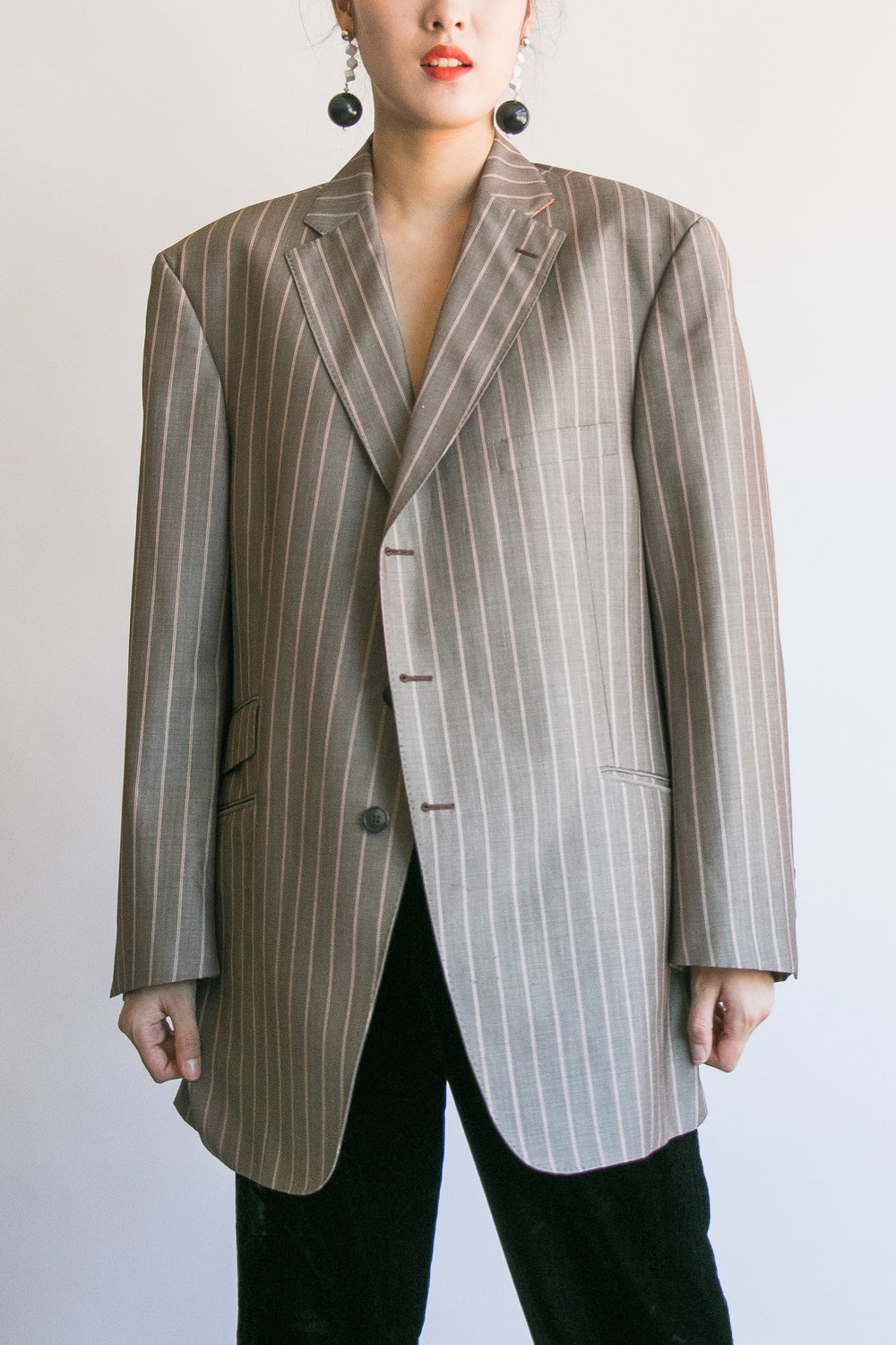 Vintage Taupe Striped Wool Oversized Menswear Blazer