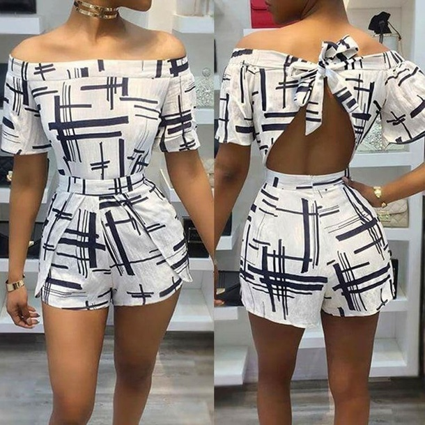 romper blue and white