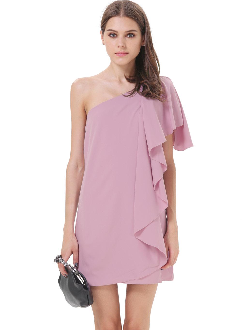 Vestido asimétrico volante hombro solo-violeta