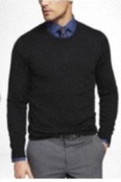 sweater,mens black merino crew neck sweater