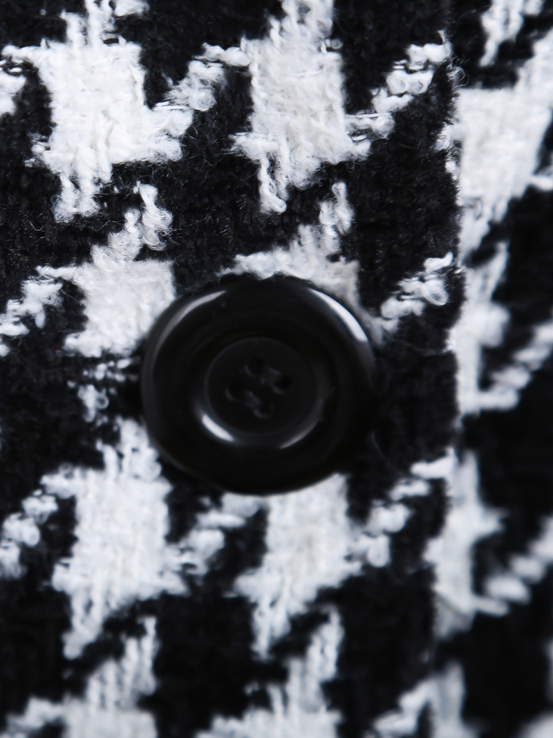 Black White Houndstooth Long Sleeve Double Breasted Coat - Sheinside.com