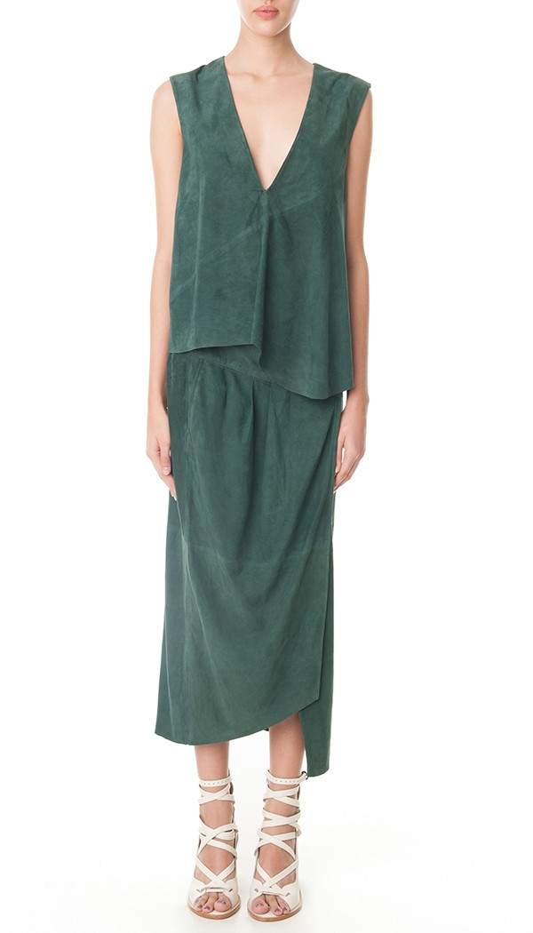 Tibi featherweight suede wrap skirt