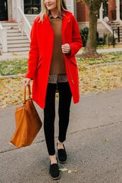 kelly in the city - a preppy chicago life,style and fashion blog,blogger,dress,jacket,sweater,red coat,fall outfits,brown bag