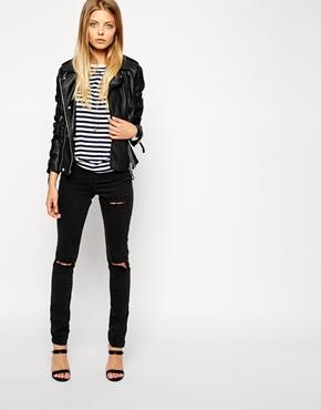ASOS | ASOS Ridley High Waist Ultra Skinny Jeans in Washed Black with Thigh Rips and Busted Knees su ASOS