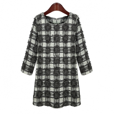 Elegant Round Collar Long Sleeve Plaids Dress