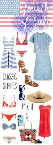 a little dash of darling,blogger,dress,swimwear,top,shoes,sunglasses,hat,bag,july 4th,striped dress