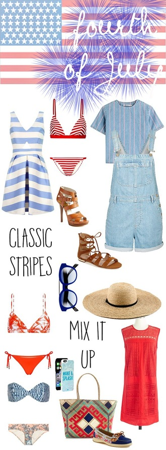 a little dash of darling blogger dress swimwear top shoes sunglasses hat bag july 4th striped dress