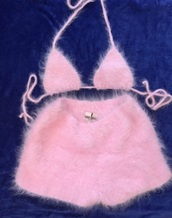 furry shorts,furry bra,pink,two-piece,top,fur,romper,cashmere,fuzzy fabric,mohair,bikini top