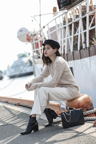 pants tumblr white pants sweater nude sweater ribbed top bag black bag hat fisherman cap boots ankle boots shoes