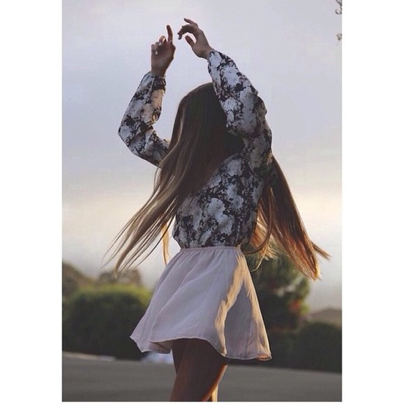 blouse black and white blouse black and white floral white flowers pretty girly cute skirt