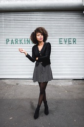 dress,velvet jacket,tumblr,mini dress,polka dots,jacket,black jacket,velvet,tights,boots,black boots,ankle boots
