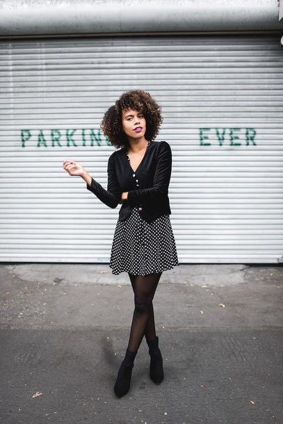 dress velvet jacket tumblr mini dress polka dots jacket black jacket velvet tights boots black boots ankle boots
