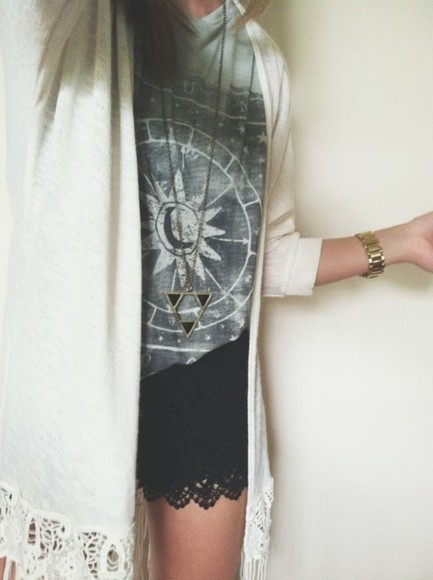cardigan shirt shorts black white lace sunshine top sun moon astrology compass blouse t-shirt