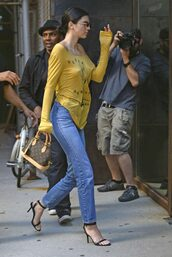 shoes,sandals,sandal heels,top,long sleeves,kendall jenner,kardashians,model off-duty,jeans,denim