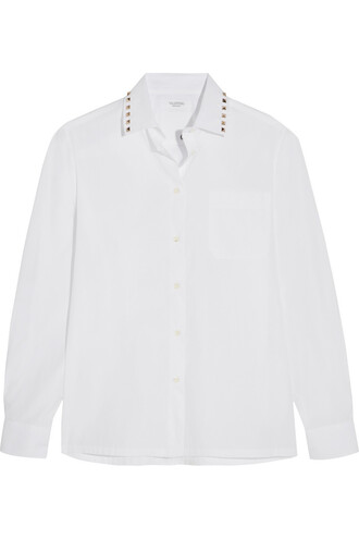 shirt studded cotton white top