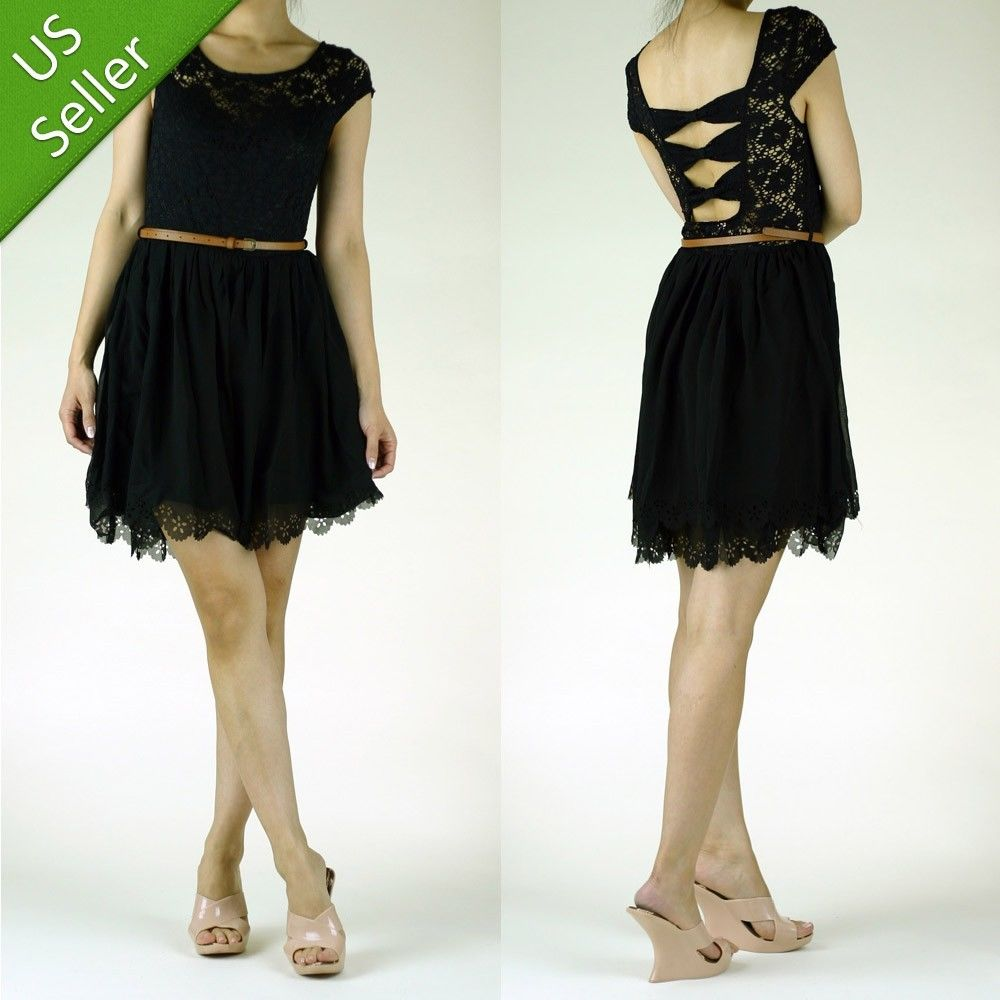 Cap Sleeve Open Bow Cross Back Lace Layered Cut Out Hem Black Dress w/ Belt