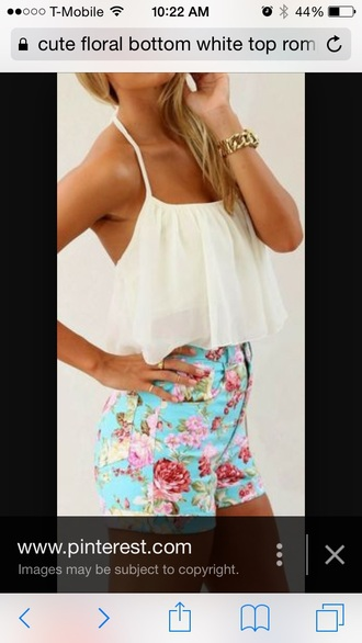 blouse white blouse floral high waisted shorts . shorts jewels