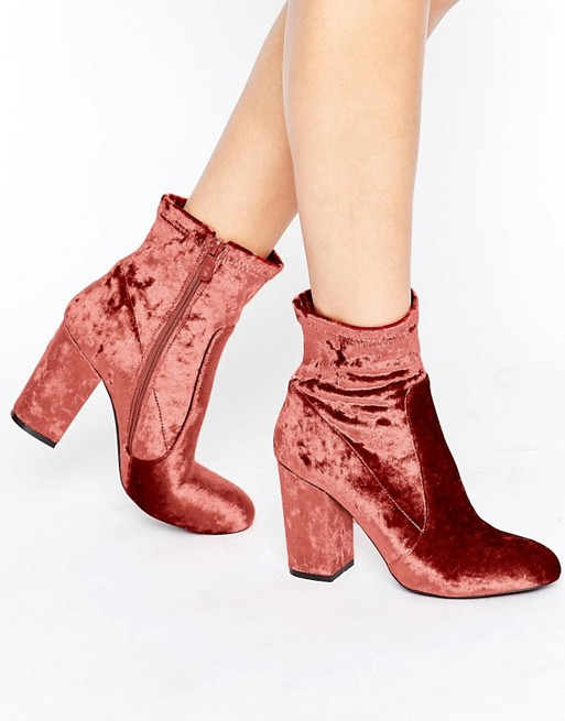 Public Desire Lila Pink Velvet Heeled Ankle Boots at asos.com