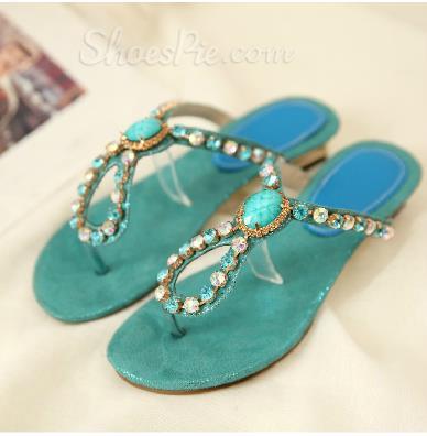 Alluring Beading Rhinestone Flat Sandals