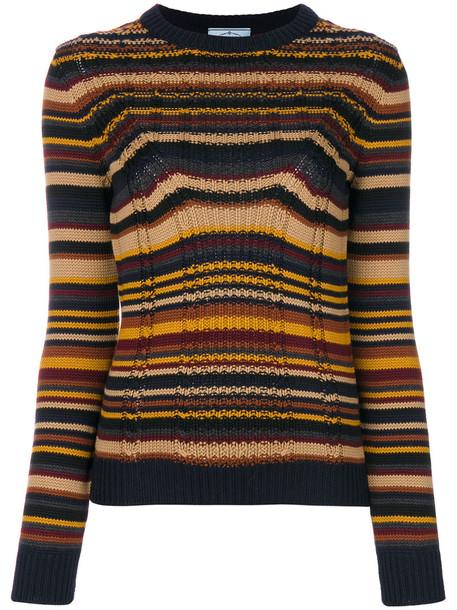 Prada - striped chunky knit jumper - women - Virgin Wool - 42, Virgin Wool