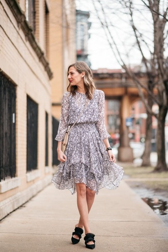 dress midi dress floral dress floral shoes black shoes mules spring dress grey dress spring outfits long sleeve dress