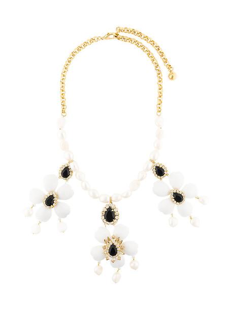 women plastic necklace pendant floral white jewels