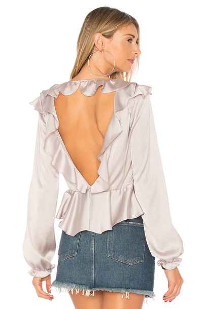 blouse back open open back metallic silver top