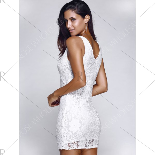 Alluring Plunging Neck Crochet Lace Dress
