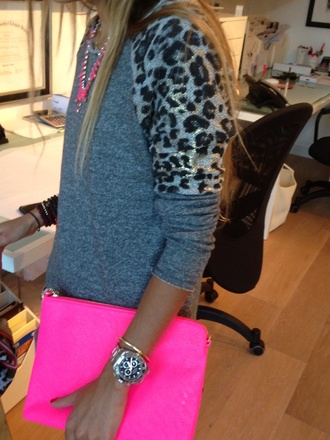 bag hot pink clutch sweater