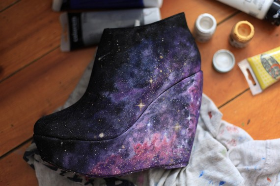 Unique nebula galaxy shoes wedges heels by alexandrasophie on etsy