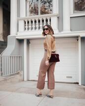 pants,plaid pants,plaid,cuffed pants,burgundy bag,long sleeve blouse,small bag,slingback pumps,red plaid