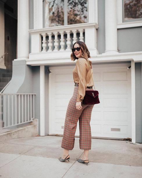 pants plaid pants plaid cuffed pants burgundy bag long sleeve blouse small bag slingback pumps red plaid slingbacks burgundy shirt