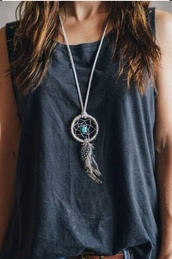 tank top,grey,top,jewels,necklace,long neckace,dreamcatcher,dreamcatcher necklace,boho jewelry,clothes,edgy