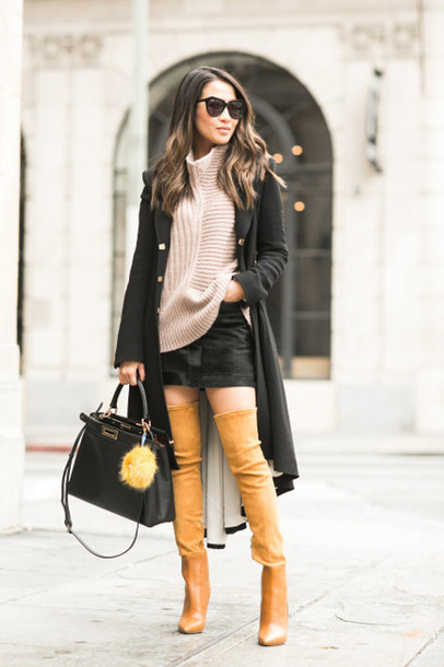 wendy's lookbook blogger suede boots winter outfits thigh high boots long coat knitted sweater mini skirt fur keychain accessories black skirt sweater turtleneck sweater winter sweater black coat asymmetrical cat eye black sunglasses over the knee over the knee boots black bag bag black long coat
