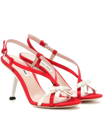 sandals satin red shoes