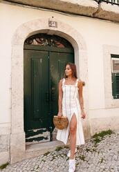kenza,blogger,dress,jewels,shoes,bag,cult gaia bag,slit dress,midi dress,summer outfits