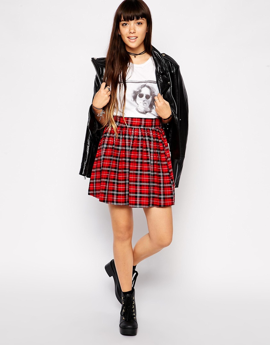 Asos skater skirt in tartan print at asos.com