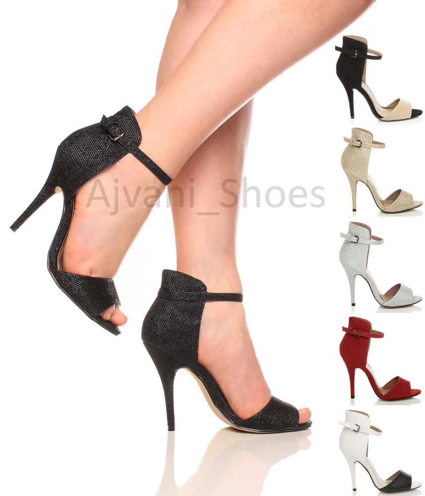 Womens Ladies High Heel Stiletto Peep Toe Ankle Strap Cuff Sandals Shoes Size | eBay