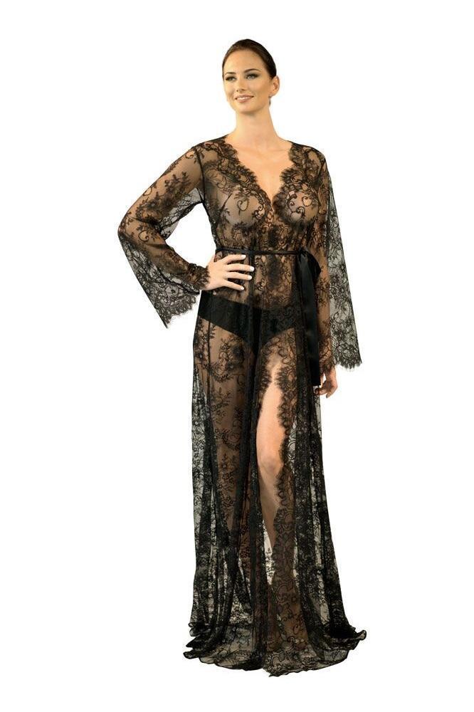 Nudwear Long Black Lace Kimono