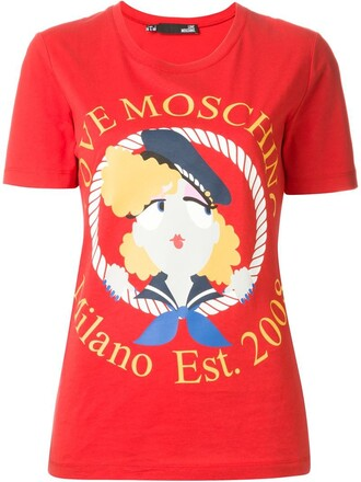 t-shirt shirt girl sailor print red top