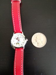 Amazon.com: disney women's mn1023 minnie mouse white dial red strap watch: watches