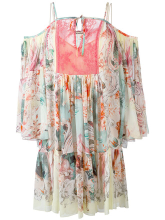 dress print dress women cold floral print silk