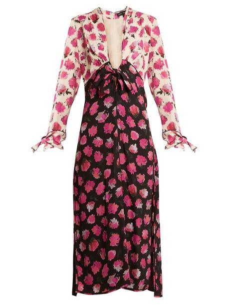 Proenza Schouler dress midi dress midi floral print silk black