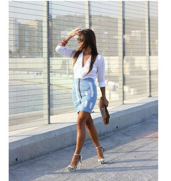 Skirt: above the knee skirt, jeans, denim skirt, knee length, knee ...