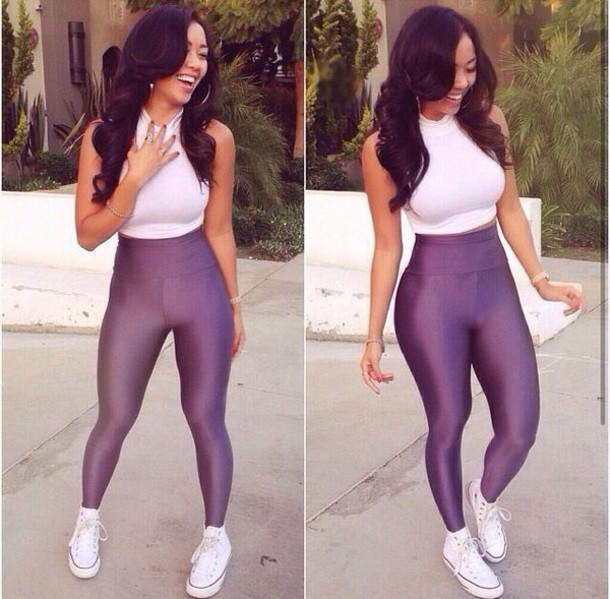 Tights: white t-shirt, whitetee, leggings, black top, black girls ...