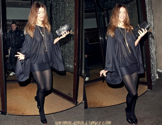 dress sara macdonald noel gallagher london black dress batwing blouse dark blue