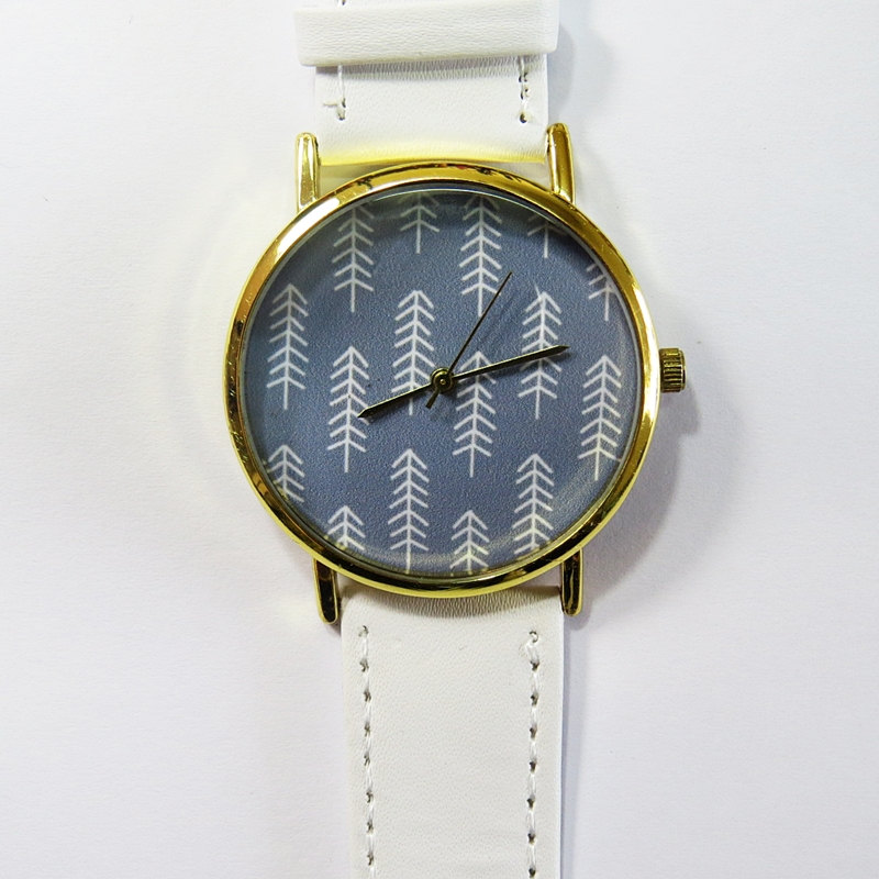 Arrow Watch, Vintage Style Leather Watch, Women Watches, Boyfriend Watch, Men's watch, white, gray, bohemian